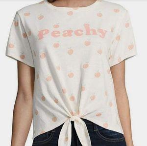 Fifth Sun Peaches Cute Summer Tie Front Peachy Top